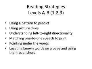 Reading Strategies Levels A-B (1,2,3)