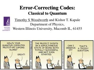 Error-Correcting Codes:  Classical  to Quantum