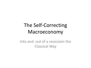 The Self-Correcting  Macroeconomy