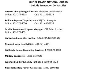 RHODE ISLAND NATIONAL GUARD Suicide Prevention Contact List