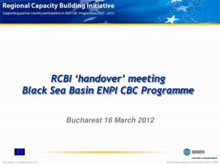 RCBI 'handover' meeting Black  Sea Basin  ENPI CBC Programme