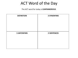 ACT Word of the Day The ACT word for today is  CANTANKEROUS .