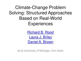 Climate-Change Problem Solving: Structured Approaches Based on Real-World Experiences