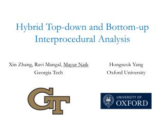 Hybrid Top-down and Bottom-up  Interprocedural  Analysis
