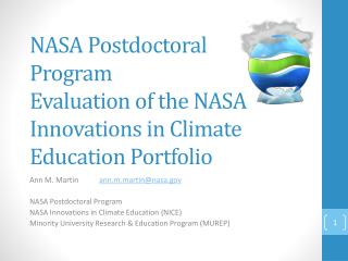 NASA Postdoctoral Program  Evaluation of the NASA Innovations in Climate Education Portfolio