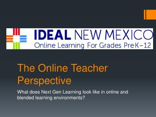 The Online Teacher Perspective