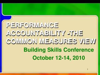 PERFORMANCE ACCOUNTABILITY -THE COMMON MEASURES VIEW