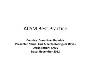 ACSM Best Practice