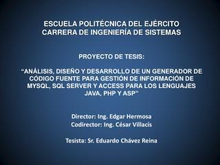 ESCUELA POLITÉCNICA DEL EJÉRCITO CARRERA DE INGENIERÍA DE SISTEMAS