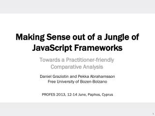 Making Sense out of a Jungle of JavaScript Frameworks
