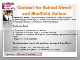 Context for School Direct and Sheffield Hallam