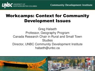 Workcamps : Context for Community Development Issues