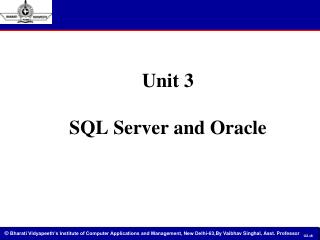 Unit 3 SQL Server and Oracle