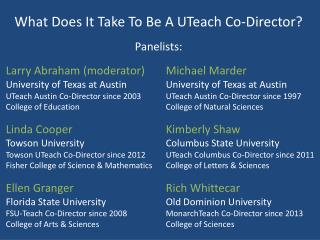 What Does It Take To Be A  UTeach  Co-Director?