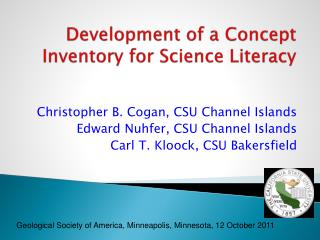 Development of a Concept Inventory for Science Literacy