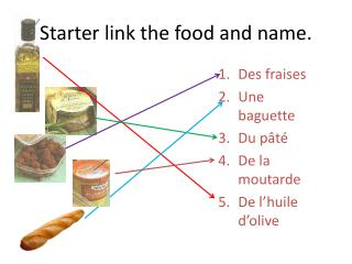 Starter link the food  and  name.