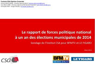 Le rapport de forces politique national  à un an des élections municipales de 2014