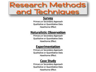 Survey Primary or Secondary Approach Qualitative or Quantitative Data Hawthorne Effect