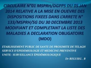 ETABLISSEMENT PUBLIC DE SANTE DE PROXIMITE DE TELAGH