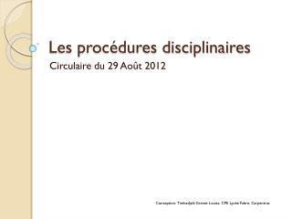 Les procédures disciplinaires