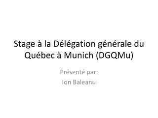 Stage  � la D�l�gation g�n�rale du Qu�bec � Munich ( DGQMu )