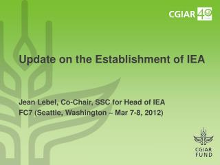Update on the Establishment of IEA