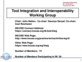 International Workshop 25  –  28  Jan 2013 Torrance, CA   USA