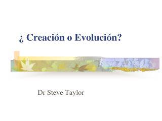 Creaci n o Evoluci n