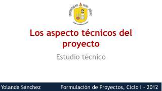 Los aspecto técnicos del proyecto