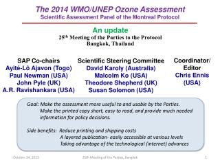 The 2014 WMO/UNEP Ozone Assessment Scientific Assessment Panel of the Montreal Protocol