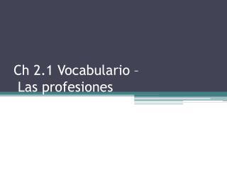 Ch 2.1 Vocabulario –  Las profesiones