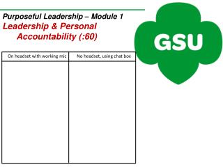 Purposeful Leadership –  Module 1 Leadership & Personal  Accountability (:60)