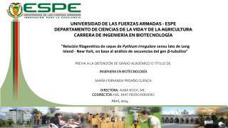 UNIVERSIDAD DE LAS FUERZAS ARMADAS - ESPE DEPARTAMENTO DE CIENCIAS DE LA VIDA Y DE LA AGRICULTURA