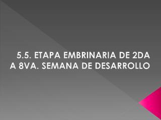 5.5. ETAPA EMBRINARIA DE 2DA A 8VA. SEMANA DE DESARROLLO