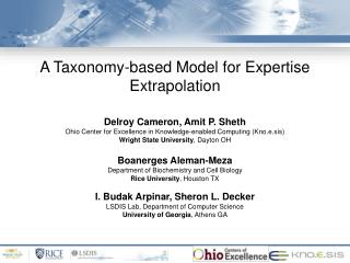 A Taxonomy-based Model for Expertise Extrapolation