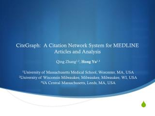 CiteGraph :   A  Citation Network System for MEDLINE Articles and  Analysis
