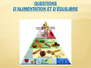 Questions d'alimentation et d'équilibre