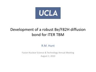 Development of a  robust  Be/F82H diffusion bond for ITER TBM