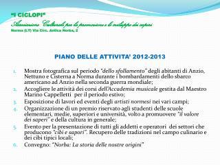 PIANO DELLE ATTIVITA' 2012-2013