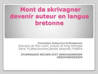 Mont da  skrivagner devenir auteur en langue bretonne