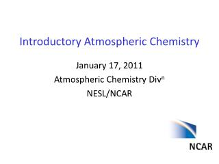 Introductory Atmospheric Chemistry