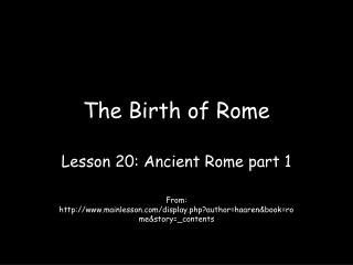 The Birth of Rome