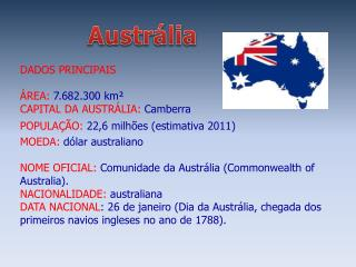DADOS PRINCIPAIS ÁREA:  7.682.300  km² CAPITAL DA AUSTRÁLIA:  Camberra