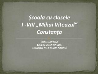 """Ș coala  cu clasele  I -VIII """"Mihai Viteazul""""  Constanța"""