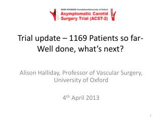 Trial update  – 1169 Patients so far-Well done, what's next?