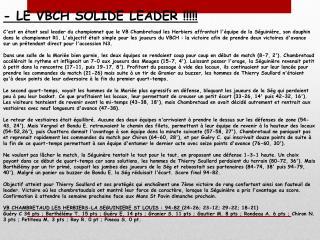- LE VBCH SOLIDE LEADER !!!!!