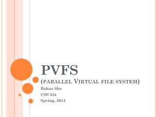 PVFS (parallel Virtual file system)