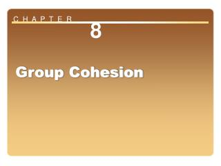 Chapter 8: Group Cohesion