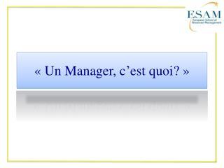 «Un Manager, c'est quoi?»