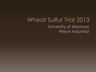 Wheat Sulfur Trial 2013